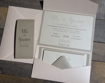 Blush Wedding Invitation Suite, Pocketfold Wedding Invitation, Champagne and Blush Pink, Metallic Pocket Fold, p005-Ella