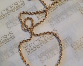 """Hollow satin 14k yg Rope chain necklace 16"""" long, 2.85mm wide, 4.2 grams"""