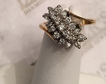 Vintage 14k white & yellow gold 19 Diamond Tiered Waterfall Cluster Ring, .38 tw IJ-SI2-I1, size 7.5