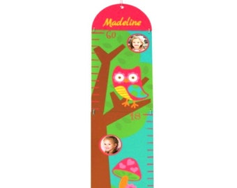 Personalized Photo Growth Chart - Teal Owl