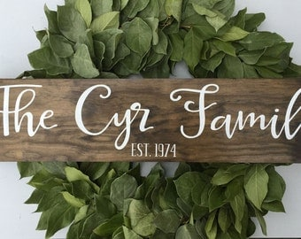 Last name sign, family sign, family name sign, wedding gift, established wood sign, rustic name sign, wooden sign, rustic family sign