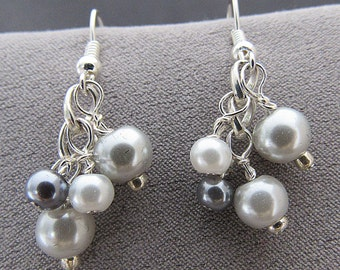 Silver Pearl Earrings//Brides Jewelry//Bridesmaid Jewelry