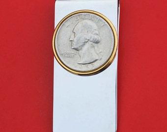US 1932 ~ 1964 Washington Quarter 90% Silver Coin Money Clip NEW - High Quality