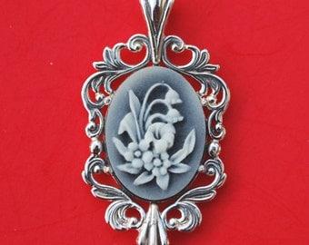 925 Sterling Silver Black Cameo Pendant - Floral Design