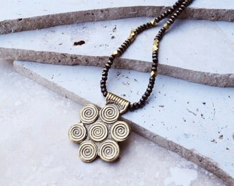 Gold tribal necklace, large brass pendant, brass boho necklace, gold boho necklace, painted wood beads