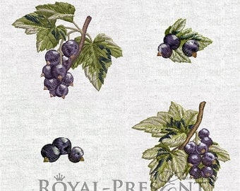 Set of Machine Embroidery Designs - Black currants (4 in 1)