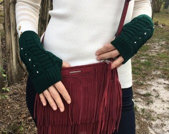 FREE US SHIPPING! Fingerless Gloves Dark Green Cable Knit Arm Warmers Mittens Women Hand Warmers Acrylic Winter Gloves Rhinestones
