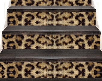 Leopard Print Wallpaper Decal Stair Wall Stickers Stair Steps Wall Decal Living Room Wallpaper Bathroom Accent Decal Leopard Wall Mural, w00