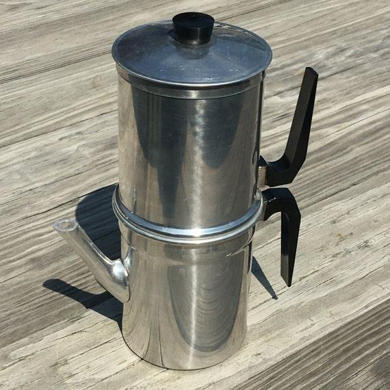 Vintage ILSA Espresso Coffee Pot / Two-Tier Aluminum Italian