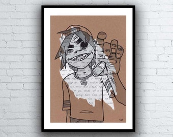 2D Gorillaz Portrait Drawing with Feel Good Inc. Lyrics - Signed Giclée Art Print - A5 A4 A3 sizes