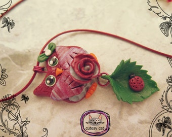 Handmade Polymer Clay Cute Owl Pendant with Little Ladybug on the Leaf