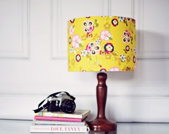 Yellow Lamp Shade, Yellow Bedroom Décor, Light Shades, Floral Lamp Shade,  Living