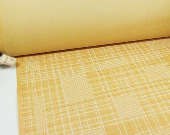 Huge roll 29m meters 32 yards vintage Soviet wallpaper by the YARD checkered patterns and orange-red, light brown white mural wall cover