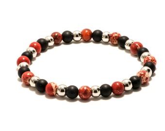 Mens Bracelet - Black Onyx - Red Sea Sediment Pattern