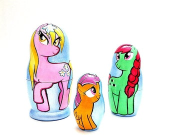 Nesting dolls Сolored Horses, funny multicolor gee-gee matryoshka 3pcs set