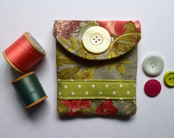 Gift Card // Business Card Holder in Floral and Lime Polka Dot