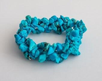Beautiful blue turquoise bracelet. Hand crafted designer natural stone bracelet