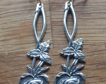 Earrings made from silver spoons