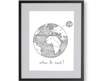 Where to Next Illustrated Unframed Print, Limited Edition A4 Travel Print, Nomad, Handmade Print, A3