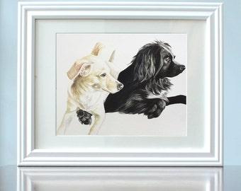 Pet Portraits, Photo Reproduction, Water color, Painted Pet, Dog Family