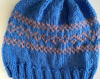Knit Beanie, Hand Knit Hat, Women's Hat, Slouchy Beanie Hat, Blue Beanie, Gift for Her, Hipster beanie, Traditional Beanie, Womens ski Hat