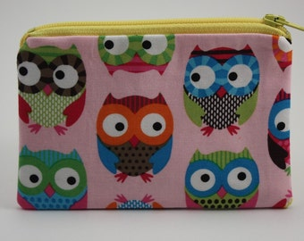 Little Zipper Pouch - Colorful Owls // Coin Purse // Gift Card Holder // Party Favor // Stocking Stuffer // Gift for Kids
