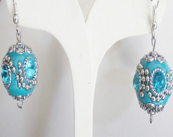 Turquoise blue Indonesian earrings