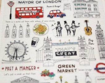 Stickers, stickers, London, Big Ben, England, Scrapbooking, embellishments, travel