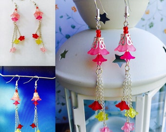 "Earrings ""colors of summer"", acrylic beads, beads flowers, glass beads"