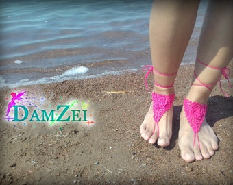 Lace Barefoot Sandal, Foot Jewelry, Wedding Barefoot Sandal, Crocheted Flower Anklet, Hot Pink Barefoot Sandal, Barefoot Anklet,
