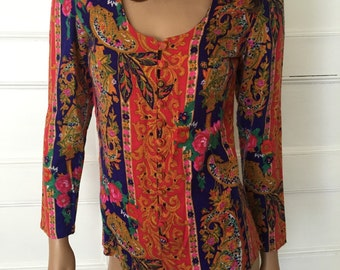 Vintage 60s Psychedelic Paisley Bodysuit - 1960's Hippie Shirt - Boho Hippie Top - Retro Long Sleeve Body Suit Shirt