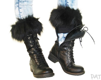 "Boot cuffs ""Transformers"", fake fur leg warmers, boot toppers, wellies, faux fur socks."