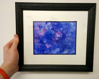 original galaxy watercolour painting, framed and mounted