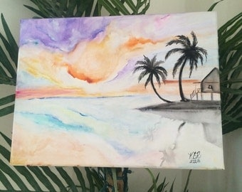 Original Watercolor Art Tropical Sunset Palm Trees Water Bungalow 12x16 Stretched Canvas