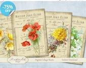 75% OFF SALE Maison Flowers - Digital Collage Sheets L007, Digital Cards, Large digital image, Transfer Images bags books fabrics