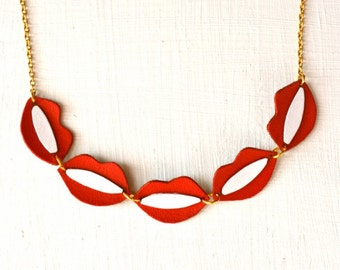 Red Lips Necklace Leather, Smile Necklace, Mouth chocker