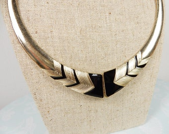 Monochrome Necklace, Art Deco Style, Chunky Statement Necklace, Geometric Pattern, Gift for Her