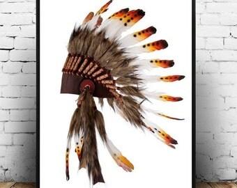 Indian Headdress, A rt Print, Tribal Art, Printable Art, Native American,  Art Print, Wall art, Wall Decor, digital download