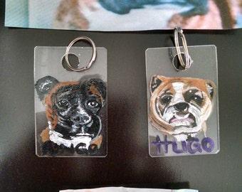 your pet's portrait on a keychain