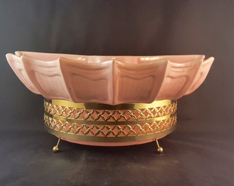 SALE - Pink Shell USA Pottery Planter with Stand