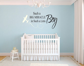 Such a Big Miracle in Such a Little Boy Nursery Vinyl Wall Decal Sticker