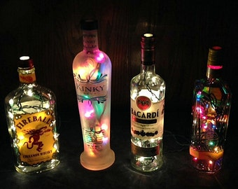 MANY 15.00 Assorted Lighted Wine And Liquor Bottles. #3
