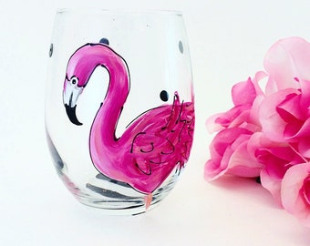 Flamingo Glass / Painted Glassware / Beach Coastal Nautical Gift / Stemless / Pink Black White /  Custom / Pink