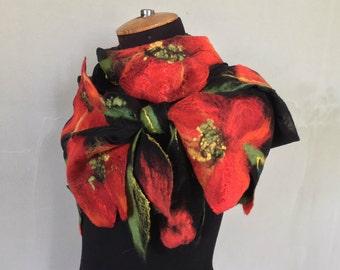 Felt scarf, nunovoylok, ponchos, chiffon scarf, shawl, chiffon, Nuno scarf with poppies