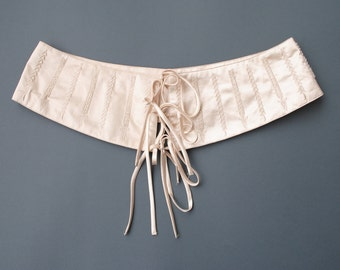 Satin Bridal Sash with Hand-sewn Seed Beads, Vintage Bridal Belt, Vintage Bridal Girdle, Vintage Bridal Corset, 90's Bridal Belt