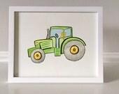 Watercolor Tractor Print