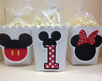 Mickey or Minnie Mouse Party Popcorn or Favor Boxes - Set of 10