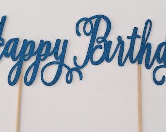 Happy Birthday sparkling cake topper