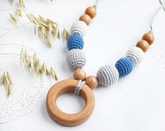 SALE 15% OFF Nursing Necklace with Wooden Ring - Grey Blue Cream Teething Necklace - Breastfeeding necklace - Mommy necklace - Baby Shower