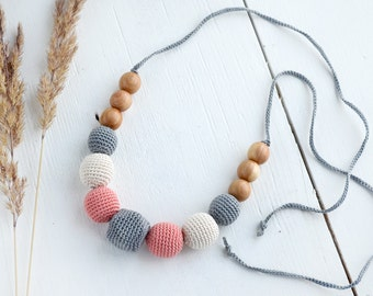 Geometric Nursing Necklace - Teething necklace - Grey - Cream - Coral - Breastfeeding necklace - Mommy necklace - Baby Shower Gift